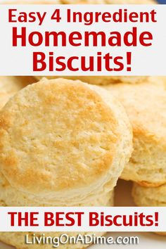 Easy 4 Ingredient Homemade Biscuits Recipe - 7 UP Biscuits - Easy 4 Ingredient Homemade Biscuits Recipe – 7 UP Biscuits – – Living on a Dime - Drop Biscuits, Quick Biscuits, Homemade Biscuits Recipe, Bisquick Recipes, Seven Up Biscuits, Angel Biscuits, Fluffy Biscuits, How To Make Biscuits, Breakfast Biscuits