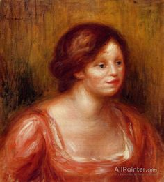 Pierre Auguste Renoir Bust Of A Woman In A Red Blouse oil painting reproductions for sale