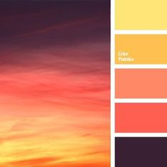 Such a gorgeous change in colours! I love how the colours in the photo and the colours in the Palette are reversed. Sunset Color Palette, Sunset Colors, Colour Pallette, Color Palate, Colour Schemes, Color Combos, Paint Combinations, Summer Colour Palette, Bright Colour Palette