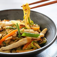 "Chicken Zoodle ""Lo Mein"" For Two Recipe Main Dishes with reduced sodium chicken broth, reduced sodium soy sauce, oyster sauce, rice wine, corn starch, zucchini, boneless skinless chicken breasts, kosher salt, canola oil, bok choy, sliced mushrooms, shredded carrots, scallions, fresh ginger, garlic cloves"