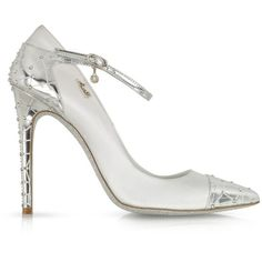 Loriblu White Satin and Silver Leather Jewel Pump (1,040 SGD) ❤ liked on Polyvore featuring shoes, pumps, heels, white, white pumps, white leather shoes, heels & pumps, metallic pumps and silver metallic pumps