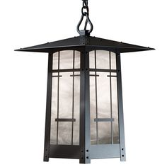 "America's Finest Lighting Company Cobblestone 1 Light Outdoor Hanging Lantern Size: 10.5"" H x 6.5"" W x 9"" D, Shade Finish: Honey, Finish: New Verde"