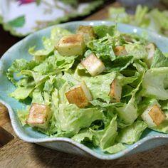 Avocado Caesar Salad (Vegan, Paleo) Recipe Salads with avocado, garlic, fresh lemon juice, apple cider vinegar, water, dijon mustard, sea salt, nutritional yeast