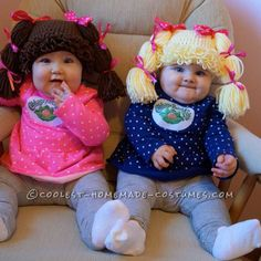 25 Cute Halloween Costumes for Kids : Cabbage Patch Kids - Cute Kids Halloween Costumes! Over 25 of the Best DIY Halloween Ideas to inspire you on Trick or Treat night! Cute Kids Halloween Costumes, Twin Halloween, Cute Costumes, Baby Costumes, Costume Ideas, Crochet Costumes, Infant Girl Costumes, Halloween Party, Grease Costumes