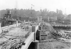 1928-Construction of Glendale-Hyperion viaduct, looking south over small arches. The Glendale-Hyperion Viaduct and bridge is 56 ft-wide, 1,340 feet long and features a series of thirteen concrete arches.  F1071.JPG