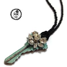 Rhinestone Flower Key Pendant on Black Cord OOAK by WinkArtisans - The Lost Earring Project Key Pendant, Rhinestone Jewelry, Fun Projects, Headpiece, Cord, Brooch, Trending Outfits, Unique Jewelry, Handmade Gifts