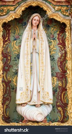 AVEIRO, PORTUGAL - JULY 28, 2016: Statue of Mother Mary in the Cathedral of Aveiro, Centro region, Portugal.
