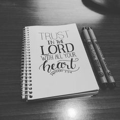// Trust in the Lord with all your heart and do not lean on your own understanding. In all your ways acknowledge him and he will make straight your paths. - Proverbs 3:5-6 // Day 2 of #30daysofbiblelettering by gy_roy
