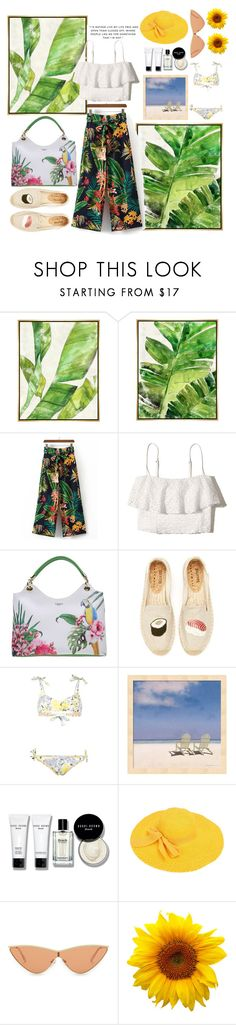"""#PolyPresents: Dream Vacation"" by wizzlye ❤ liked on Polyvore featuring Barclay Butera, WithChic, Hollister Co., Tosca Blu, Soludos, Bobbi Brown Cosmetics, Le Specs, contestentry and polyPresents"
