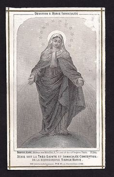SALE Very Old 1815 Holy Card of the Immaculate by Divinegiftshop