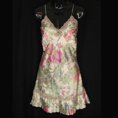 Victorias Secret S Nightie Ivory with Pink & Blue Roses Floral Satin Pleated  #VictoriasSecret #Gowns #Everyday