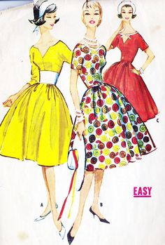 1950s Misses Dress with Three Bodice Styles, Vintage Sewing Pattern, Full Skirt, Party Dress, McCall's 4965