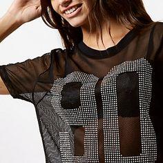 Black 90 mesh stud T-shirt