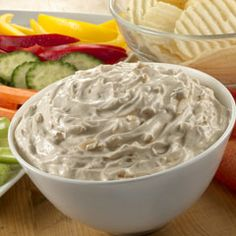 Classic Onion Dip. this dip was sooo good, we had it at an office party and I was shocked that it was just sour cream and onion soup mix! Will try it with light sour cream and hope it's still good!