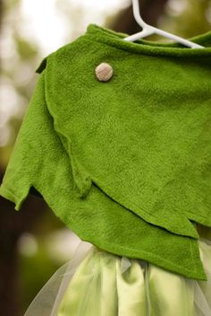 RESERVED Tinkerbell Costume with Leaf Green Wrap by poppysmocks