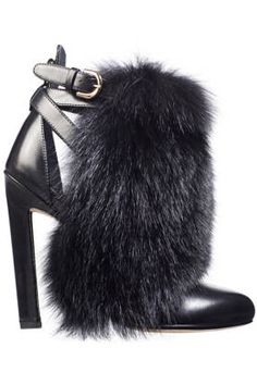 Fall and Winter Heels: Brian Atwood Majoy Black Leather & Fox Fur Heel