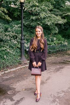 Best of Burgundy For Fall - A.L.C. dress, Future Glory bag & A.P.C. pumps