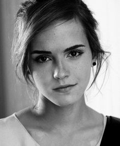 Emma Watson black and white photography, of Harry Potter fame playing Hermione. Strong but tamed, straight brows and simple, natural make-up