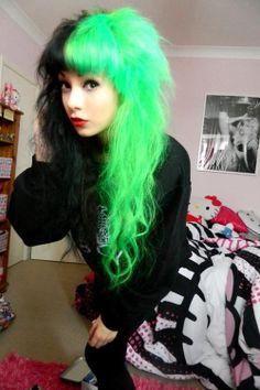 green scene hair   black hair green hair girl cute pretty full fringe hair