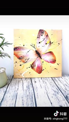 Canvas Painting Tutorials, Acrylic Painting Canvas, Acrylic Art, Easy Canvas Art, Small Canvas Art, Canvas Art Prints, Art Painting Gallery, Butterfly Painting, Watercolor Art