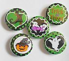 Lime Green Halloween Mix Flatback Pin Back Buttons 1 for Bows Etc - Halloween Flatback Pins Embellishments, Lime, Pumpkin, Bows, Scrapbook, Buttons, Candy, Halloween, Green