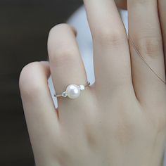 Real pearl ring,cubic zirconia engagement rings,june birthstone ring,cheap wedding rings,eternity ring,love ring,fashion rings,open ring by PearlOnly on Etsy https://www.etsy.com/listing/201918986/real-pearl-ringcubic-zirconia-engagement
