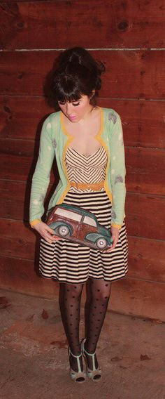 Color and pattern / cardigan and stripe dress