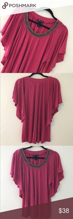 PINK BEADED TUNIC (NWOT) 💗Condition: NWOT, Never used, No flaws. Color: Dark Pink. Beaded: silver & dark silver to es.  💗Smoke free home 💗No trades, No returns 💗No modeling  💗Shipping next day 💗I LOVE OFFERS, offer me! 💗BUNDLE and save more 💗All transactions video recorded to ensure quality.  💗Ask all questions before buying martha B. Tops Tunics