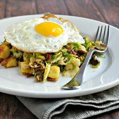 Sweet Potato, Brussels Sprout and Mushroom Hash with Bacon and Fried Egg - Pinch and Swirl