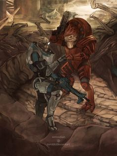 Commission - Garrus and Wrex by Weissidian on DeviantArt