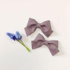 Mini School Girl Bow Penelope with Nylon Band or Hair Clip, nylon bow headbands, nylon baby headbands, hair bows, preemie headband, Purple bow, petite bow, petite headband, pigtail bows, pigtails, pigtail set, Etsy store