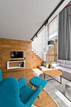 Loft town is a Scandinavian modern apartment design for a young couple by design studio InArch. The 914 square feet loft is located Vilnius, Lithuania. Living Room Scandinavian, Modern Scandinavian Interior, Scandinavian Style, Modern Decor, Small Apartment Interior, Interior Design Living Room, Living Room Designs, Loft Design, House Design
