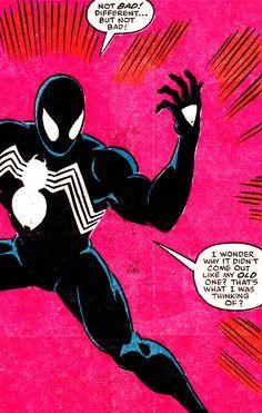"jthenr-comics-vault: "" First Appearance Of The Symbiote Suit Secret Wars (December Art by Mike Zeck "" Black Spiderman, Spiderman Art, Amazing Spider Man Suit, Comic Art, Comic Books, Jack Kirby Art, Comic Book Panels, Marvel Comics Art, Spider Verse"