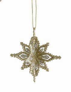 "4"" Silver Splendor Gold Glitter Pointed Snowflake Christmas Ornament - Walmart.com"