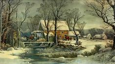 Currier and Ives' Winter in the Country (a.k.a The Old Grist Mill) The Rural Industrialist.