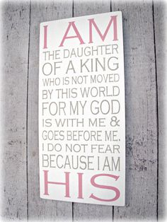 I am the Daughter of a King I AM HIS Hand by cellardesigns Princess Tea Party, Princess Theme, Princess Birthday, Retreat Gifts, Train Up A Child, Identity In Christ, Hand Painted Walls, Paint Samples, Daughters Of The King