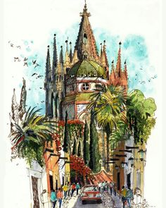 Gorgeous #watercolor #architecture #urbansketch by drawSan Miguel de Allende Mexico  Gorgeous #watercolor #architecture #urbansketch by James Richards (@jrsketchbook) drawing on location in San Miguel de Allende Mexico (I believe he also used a Lamy #fountainpen for the linework). I've seen a few photographs of this area and James really captured and duplicated the vibrant colors of this town extremely well.  There's something about James' drawing style and the colors he mixes for these…