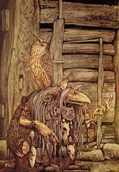 Troll Witch with Owl by Brian Froud. I Love his Art. Brian Froud, Fantasy Magic, Fantasy World, Dark Fantasy, Baba Yaga, Magical Creatures, Fantasy Creatures, Fantasy Kunst, Fantasy Art