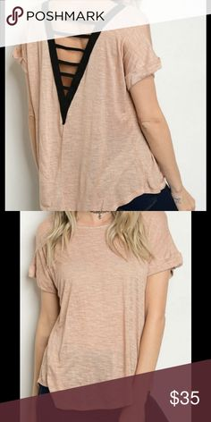 Relaxed fit V-back Tee This soft pink tee features a washed casual look, rolled sleeves and a relaxed fit. Ladder v-back in black. 100% rayon. Threadzwear Tops Tees - Short Sleeve