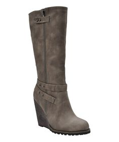 Dominate the fashion scene with these beautiful boots. The long, sleek silhouette offers a luxurious look that's complimented by decorative straps, while the height-boosting heel elevates any ensemble to high fashion status. Wedge Heel Boots, Bootie Boots, Shoe Boots, Grey Shoes, Fashion Boots, High Fashion, Shoe Game, Me Too Shoes, Wedges