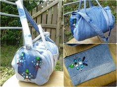 Up-cycled Levi's denim jeans gem embellished duffel holdall bag with matching purse.  Corded handles and shoulder strap