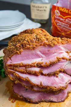 Bourbon Gingersnap Crusted Ham Everyone will be thankful if you bring this recipe to dinner! Been enjoying this recipe for several years --- its THE BEST! Ham Recipes, Easter Recipes, Thanksgiving Recipes, Holiday Recipes, Great Recipes, Cooking Recipes, Favorite Recipes, Cooking Courses, Recipes Dinner