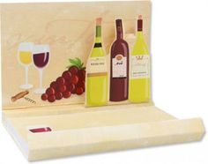 Up With Paper's line of pop-up notepads feature fun designs and unique pop-ups that add entertainment value to your notes. This wine inspired notepad features a beautiful illustration of glittery wine bottles along with wine glasses, grapes and opener.
