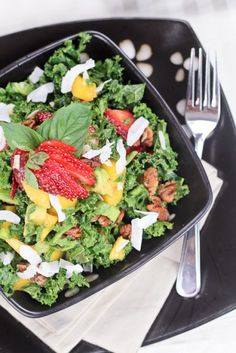 Kale Salad with a Tropical Twist - great for summer when fresh fruit is in season!