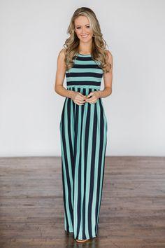 f687ab8495 Beach Daze Striped Maxi Dress ~ Aqua   Navy – The Pulse Boutique Aqua  Outfit