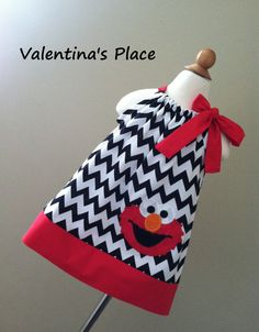 Sesame Street's Elmo in Chevron pillowcase by Valentinasplace, $28.00---  Evie's 3rd birthday