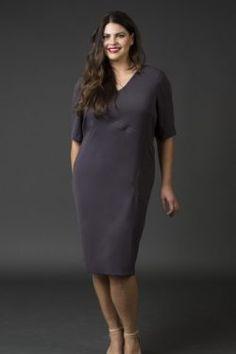 Shift Crepe Dress- Charcoal