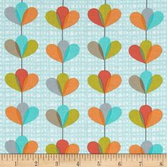 Michael Miller Petal Pinwheels Garland Seafoam from @fabricdotcom  Designed for Michael Miller, this cotton print includes colors of orange, coral, green, white and aqua. The design runs parallel to the selvedge. Use for quilting, apparel and home decor accents.