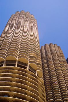 Marina City -- Chicago  I almost took an apartment there and choose to move back to the suburbs after having lived down in the city for several years.  I regret not moving there in that beautiful iconic building.  The apartment had the most awesome outside deck that looked down the Chicago River towards Navy Pier...