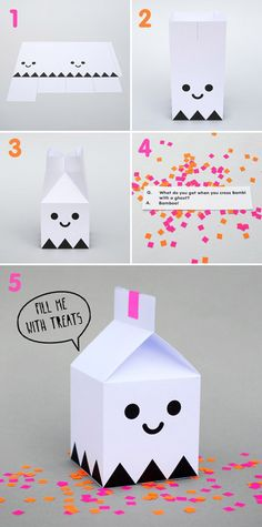 Halloween Projects Free Halloween printable ghost treat boxes from Minieco - so fun!Free Halloween printable ghost treat boxes from Minieco - so fun! Halloween Paper Crafts, Manualidades Halloween, Halloween Crafts, Holiday Crafts, Halloween Printable, Halloween Party, Christmas Cards, Christmas Gifts, Origami